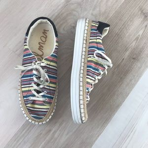EUC Sam Edelman Striped Rainbow Canvas Sneakers